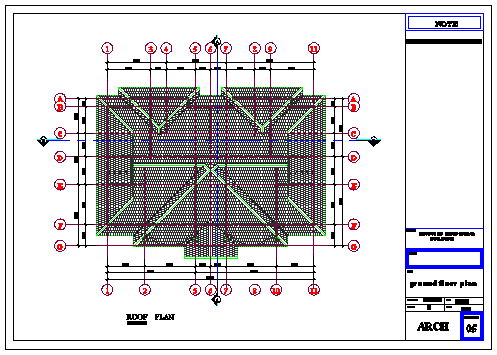 Roof plan of residential building design drawing