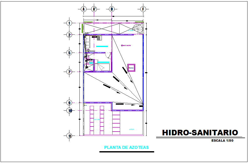 Roof plan with hydraulic line view for house dwg file