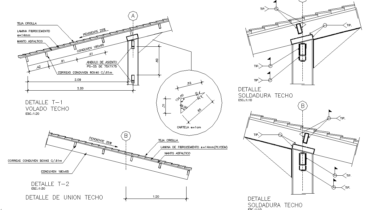 Roof section detail dwg file