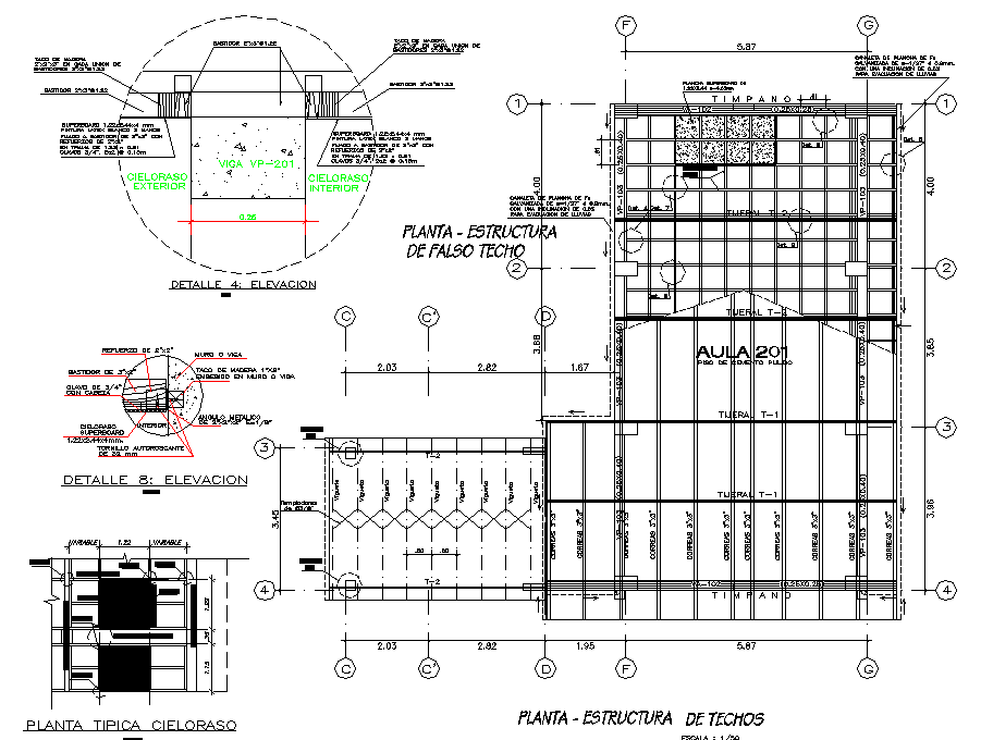 Roof section plan section detail dwg file