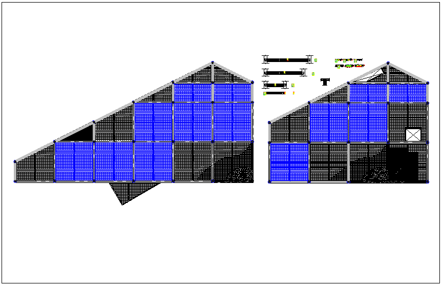 Roof structure elevation view detail dwg file