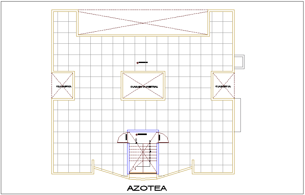 Roof top plan of apartment dwg file