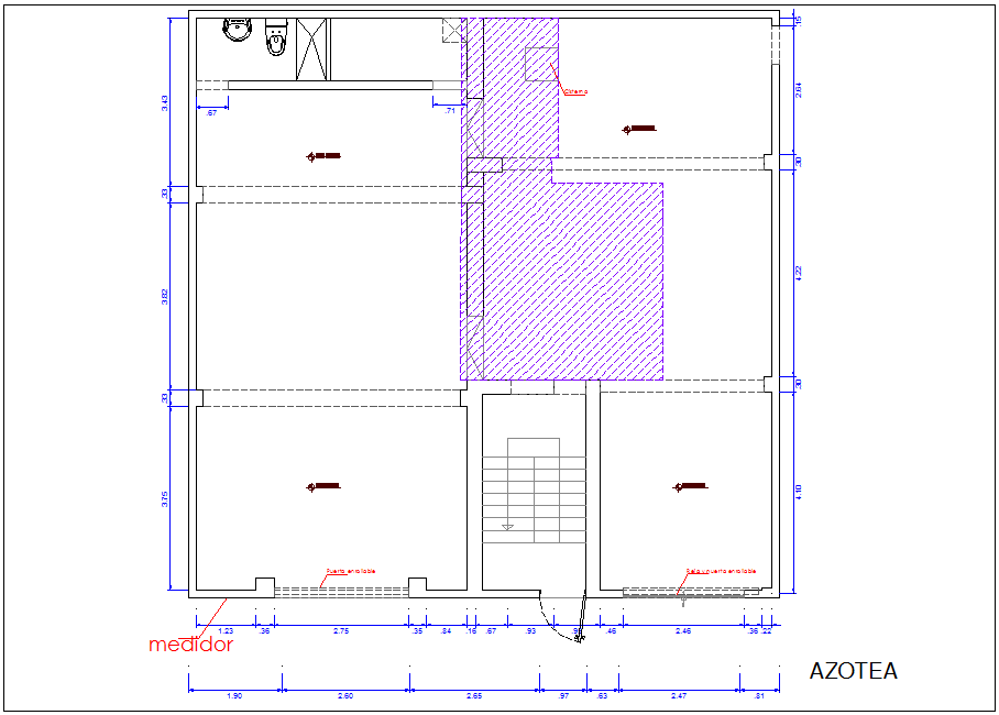 Roof top plan of office with architectural view dwg file
