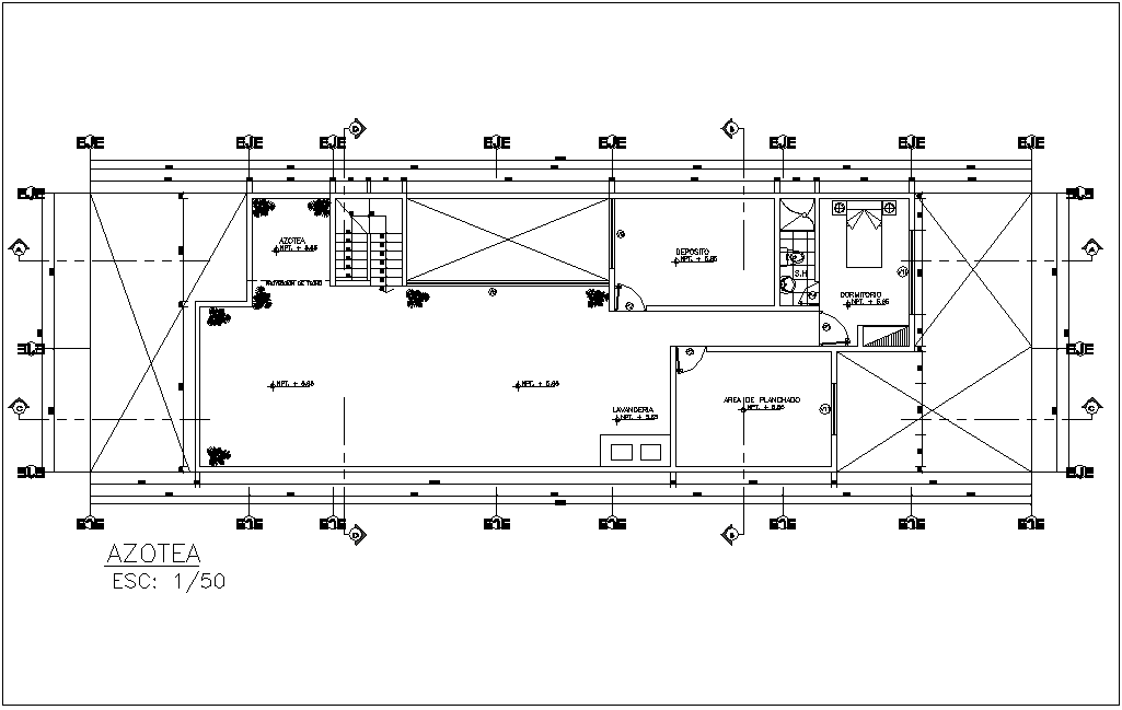 Roof top plan with view of architecture view of house dwg file