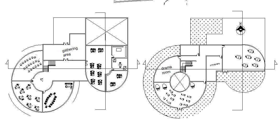 Round building plan detail dwg file