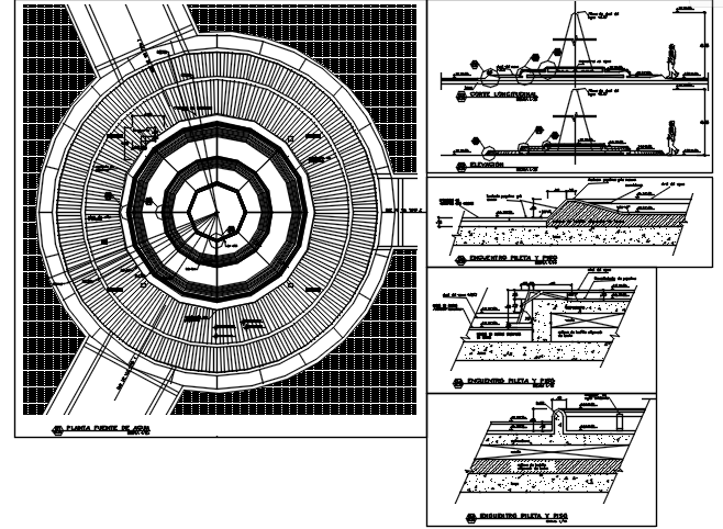 Round shape building plan detail dwg file