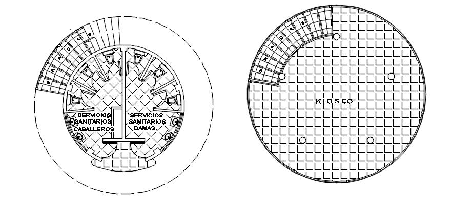 Round shape wash room plan detail dwg file