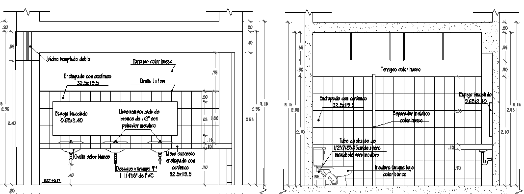 Sanitary installation of house with construction details dwg file