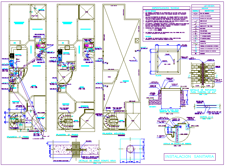 Sanitary installation view of housing area dwg file