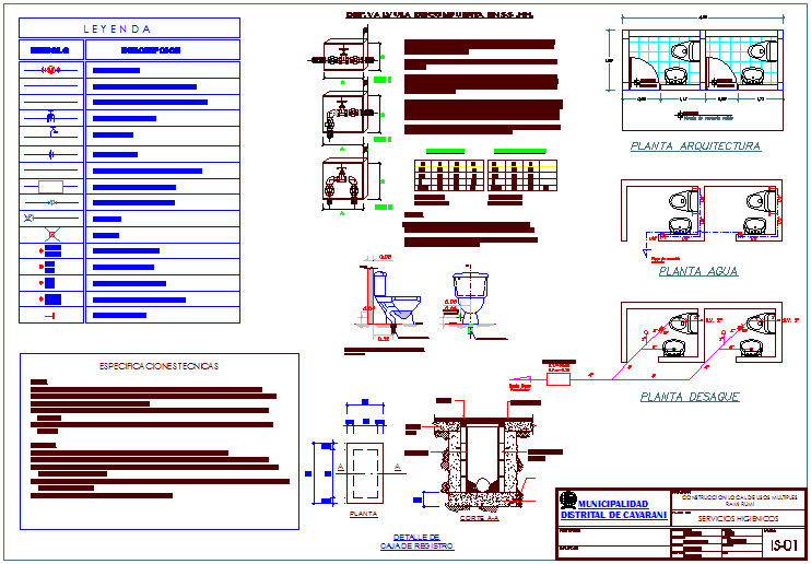 Sanitary view for hygienic area of multiple use area dwg file