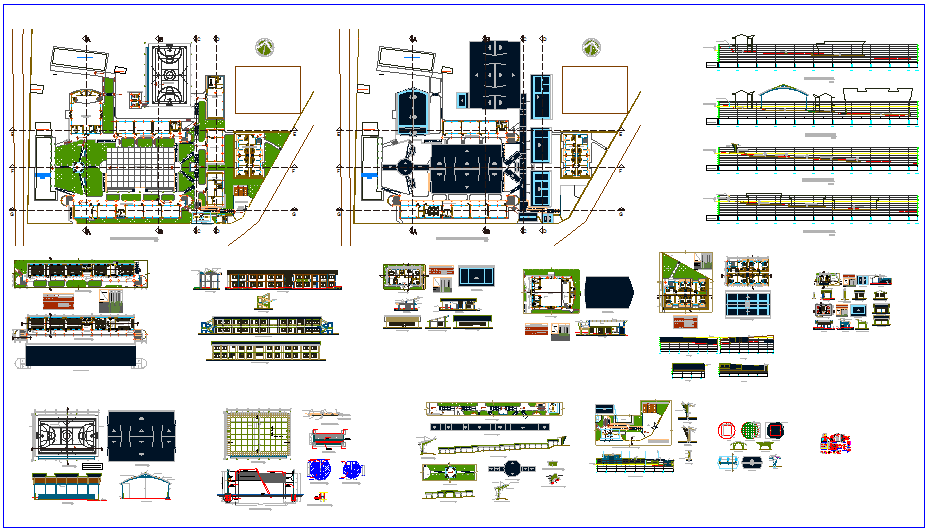 Santa maria collage plan view with elevation and section and view of door and window and concrete view detail dwg file