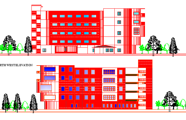School Architecture Design and Elevations dwg file