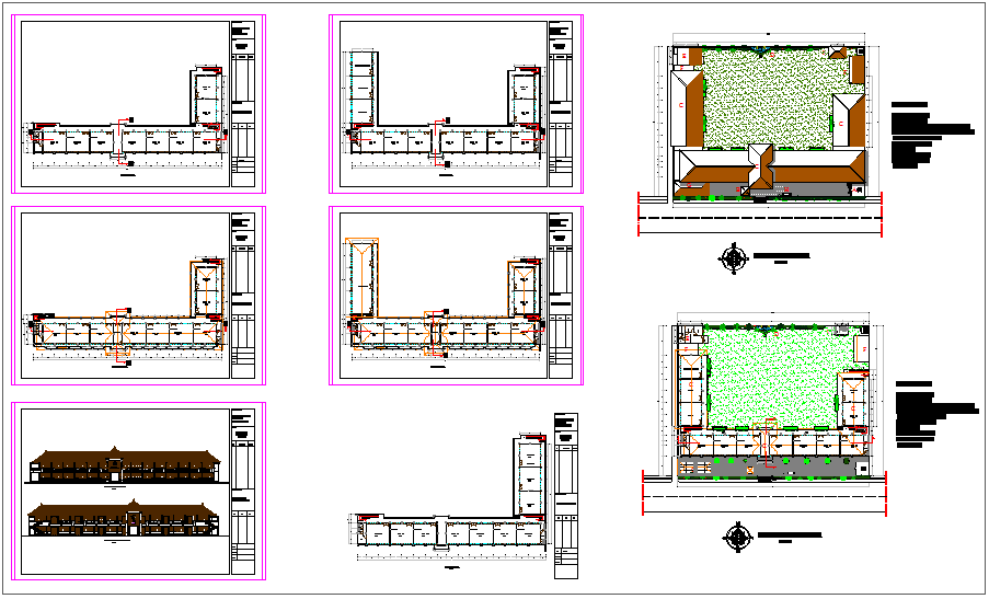 School plan and elevation view structural detail dwg file