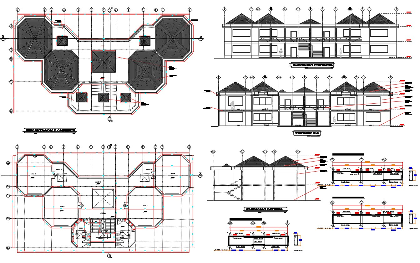 School sectional and architecture layout plan details dwg file