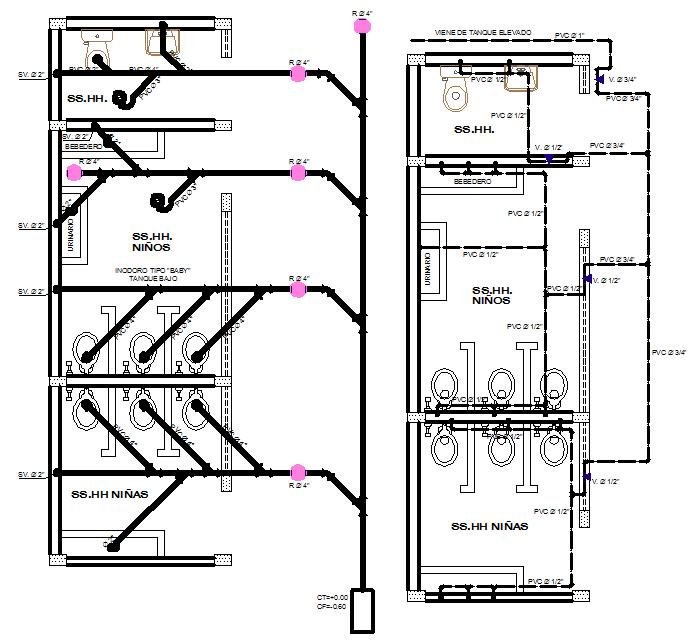 School toilet plan detail dwg file