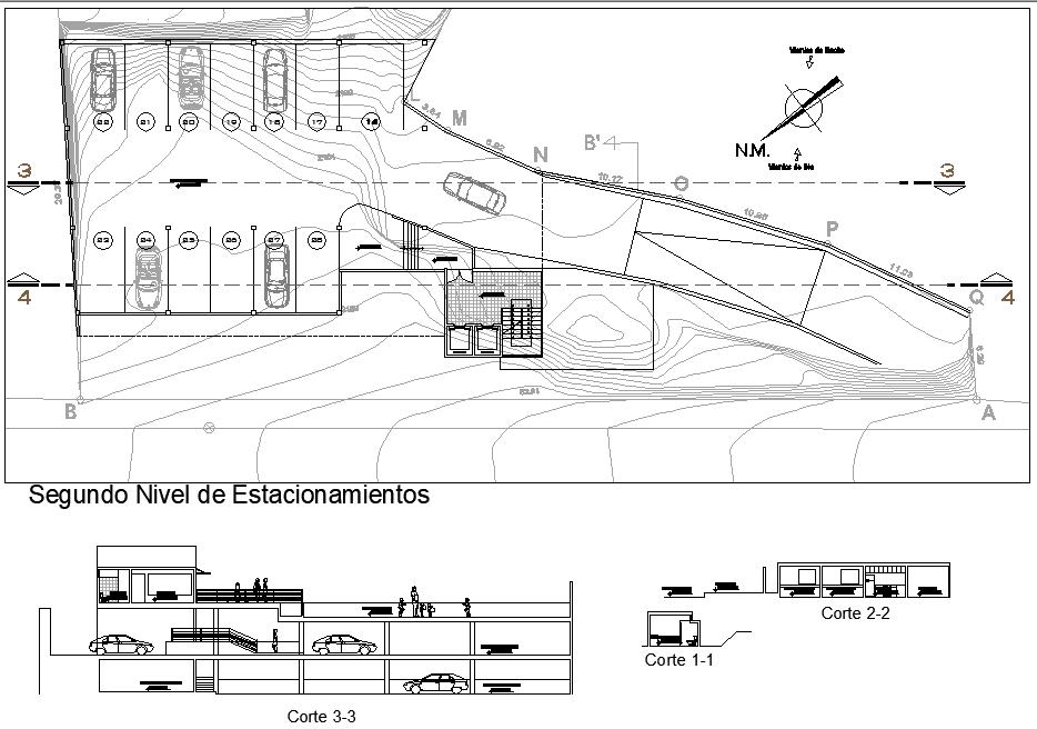 Second floor Salon social plan detail dwg file