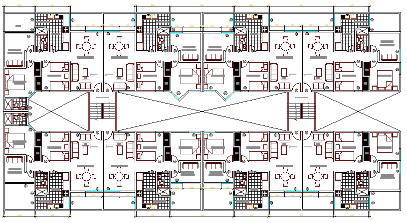 Second floor layout plan details of multiple housing building dwg file