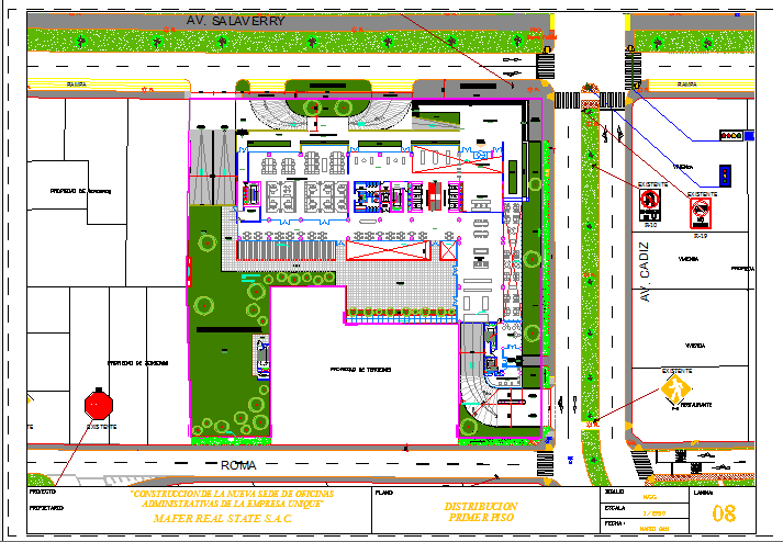 Second floor layout plan with landscaping of offices of unique dwg file