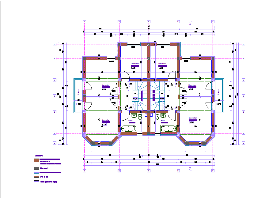 Second floor plan of duplex dwg file