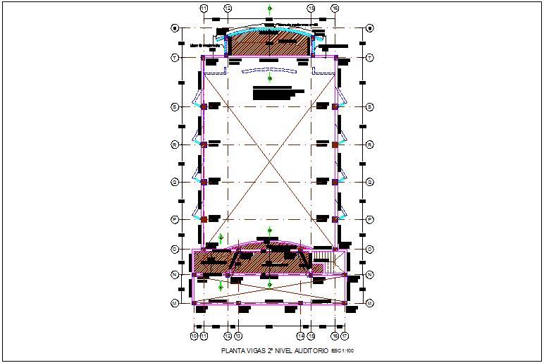 Second level auditorium beam plan for integral center dwg file