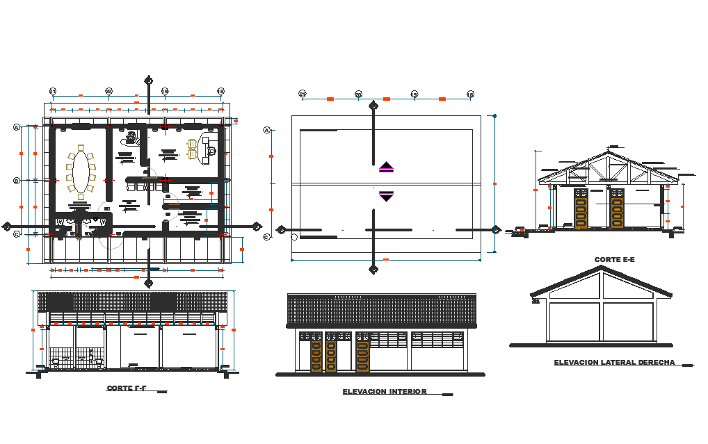 Secondary school plan, elevation and section view of Peru dwg file