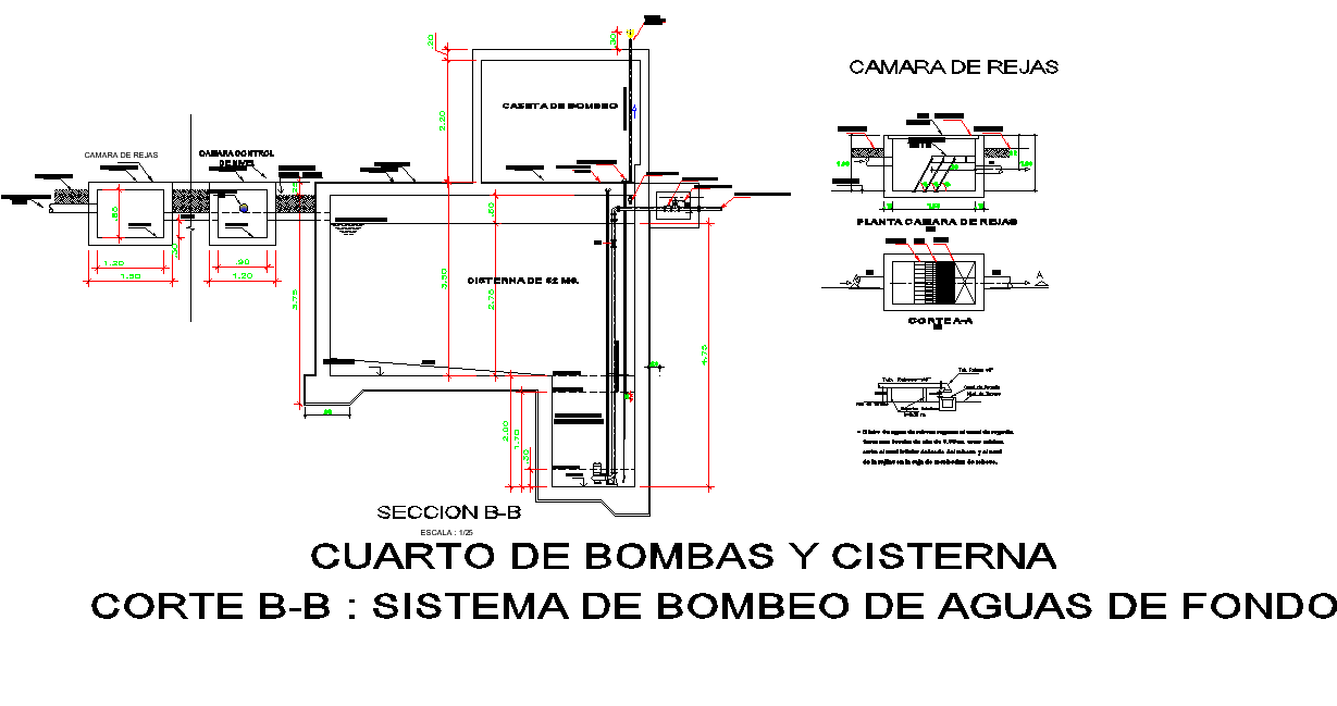 Section B-B' system cistern detail layout file