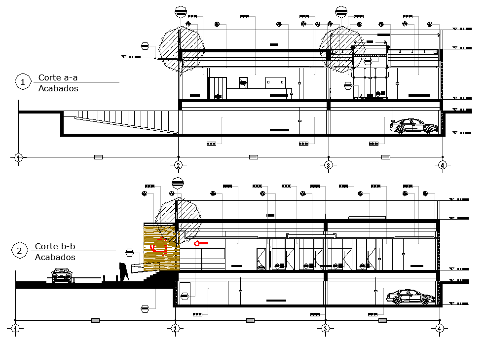 Section Business center detail dwg file