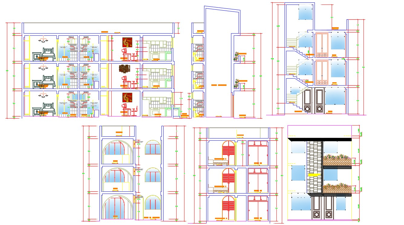 Section Elevation Of Apartment With Basic Rendered  DWG File Free Download
