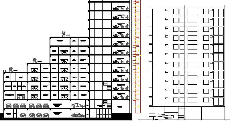 Section Plan of Multi-Family Housing Dwelling dwg file