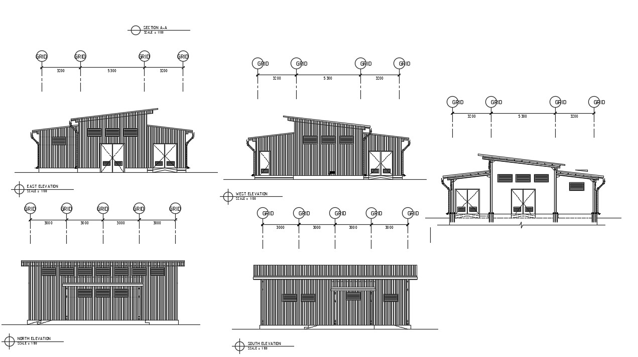Section and elevation drawings of workshop dwg file