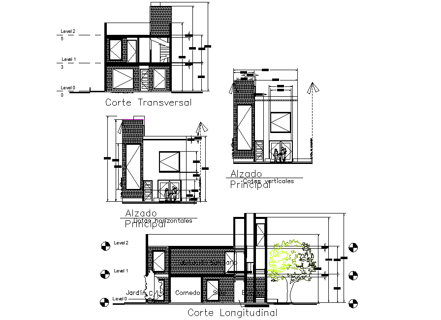 Section and elevation house plan detail