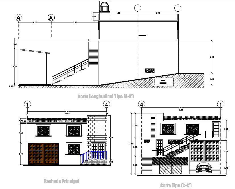Section and elevation office plan detail dwg file
