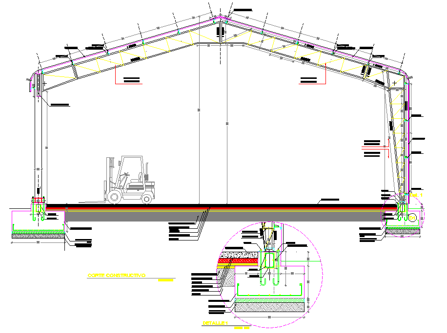 Section cellar for saw mill detail dwg file