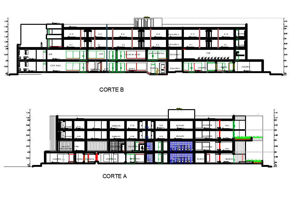 Section center plan detail dwg file