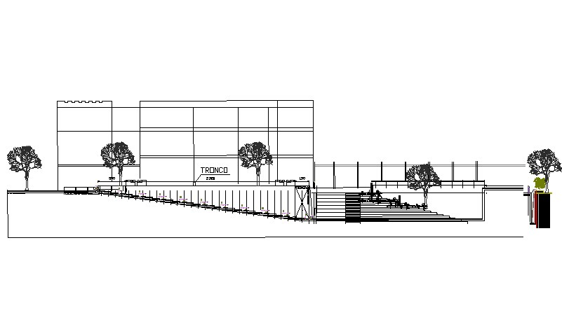 Section cultural center detail dwg file
