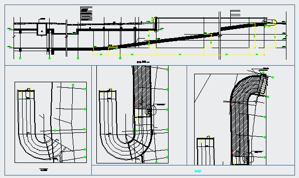 Section detail drawing of Car ramp Full u turn design drawing