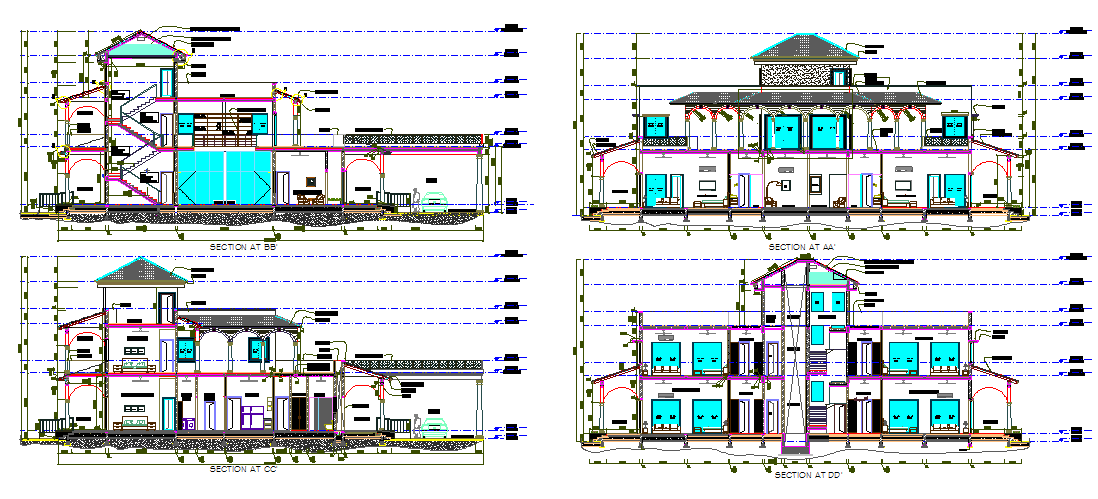 Section farm house dwg file