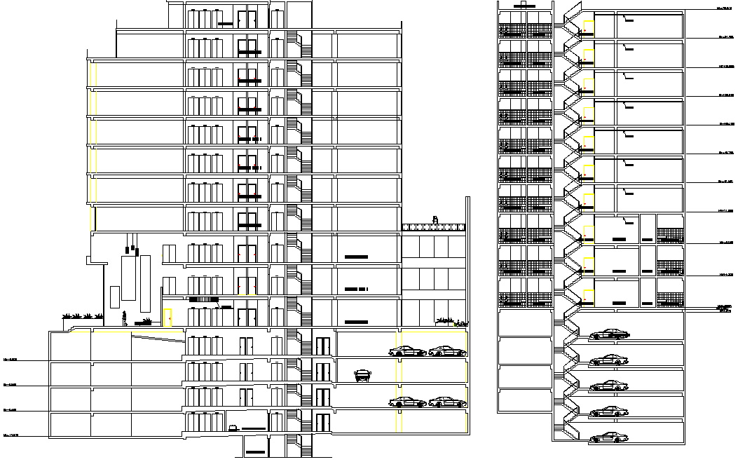 Section high rise building plan detail