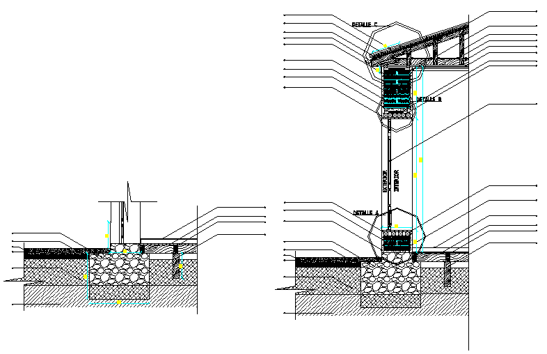 Section in house detail dwg file