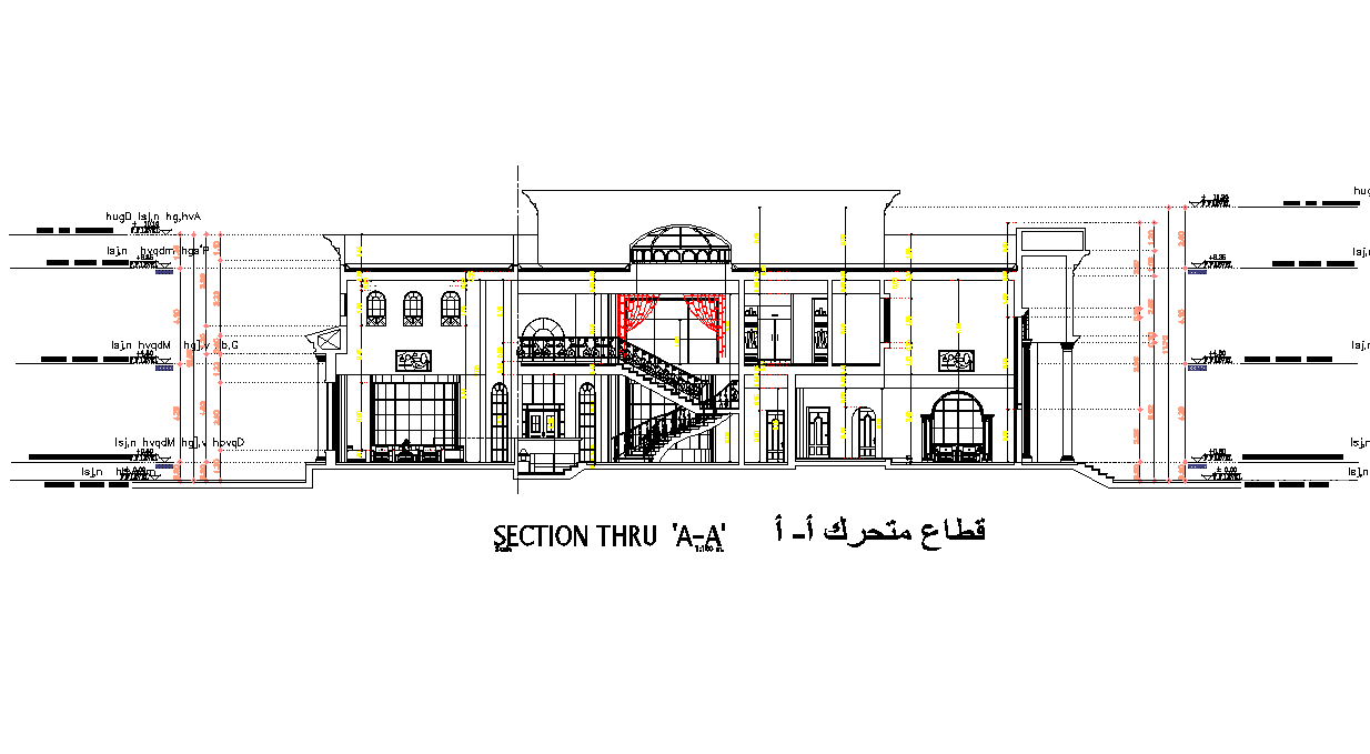 Section luxurious villa detail dwg file