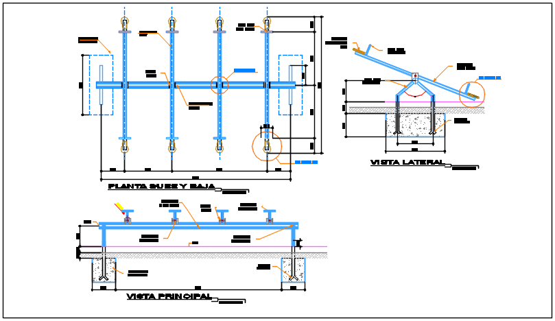 Section plan detail of the dwg file
