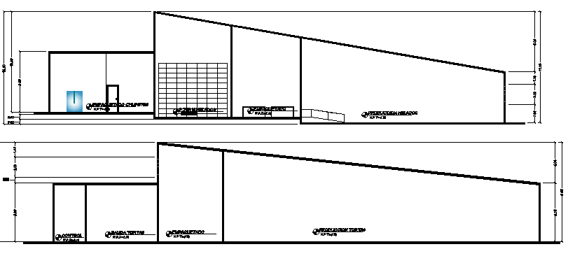 Section plan details of corporate office dwg file