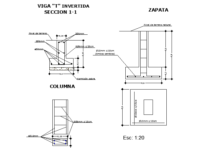 Section plan of Building dwg file