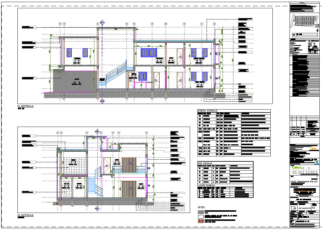 Section plan of House project dwg file