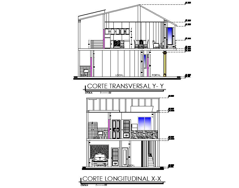 Section single family house plan detail dwg file