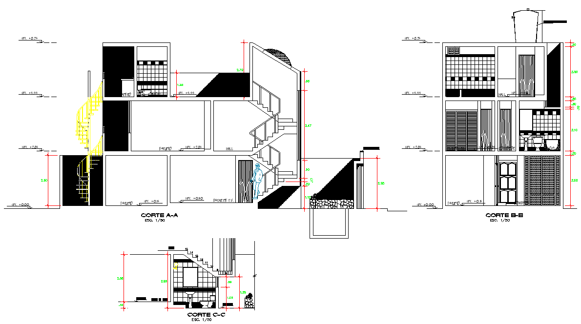 Section story single family plan detail dwg file