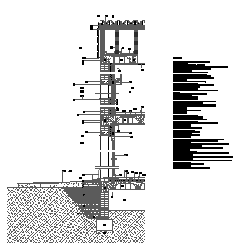 Section town house construction design drawing