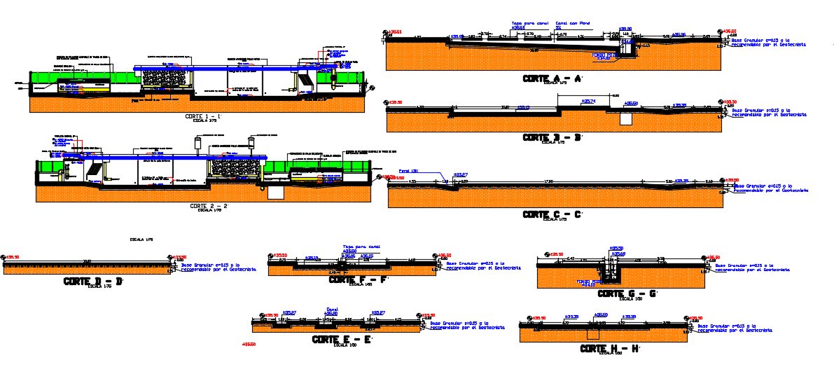 Section view of drinking water treatment plant dwg file