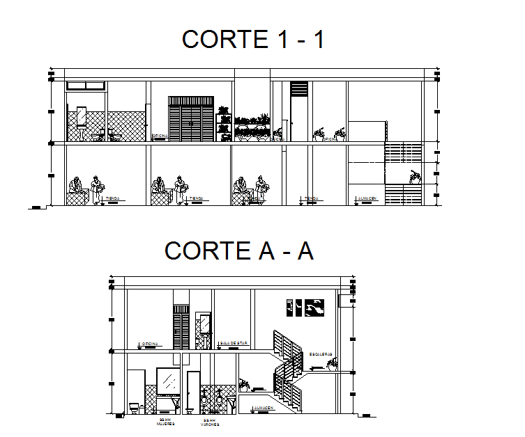 Sectional detail and elevation of  a office dwg file
