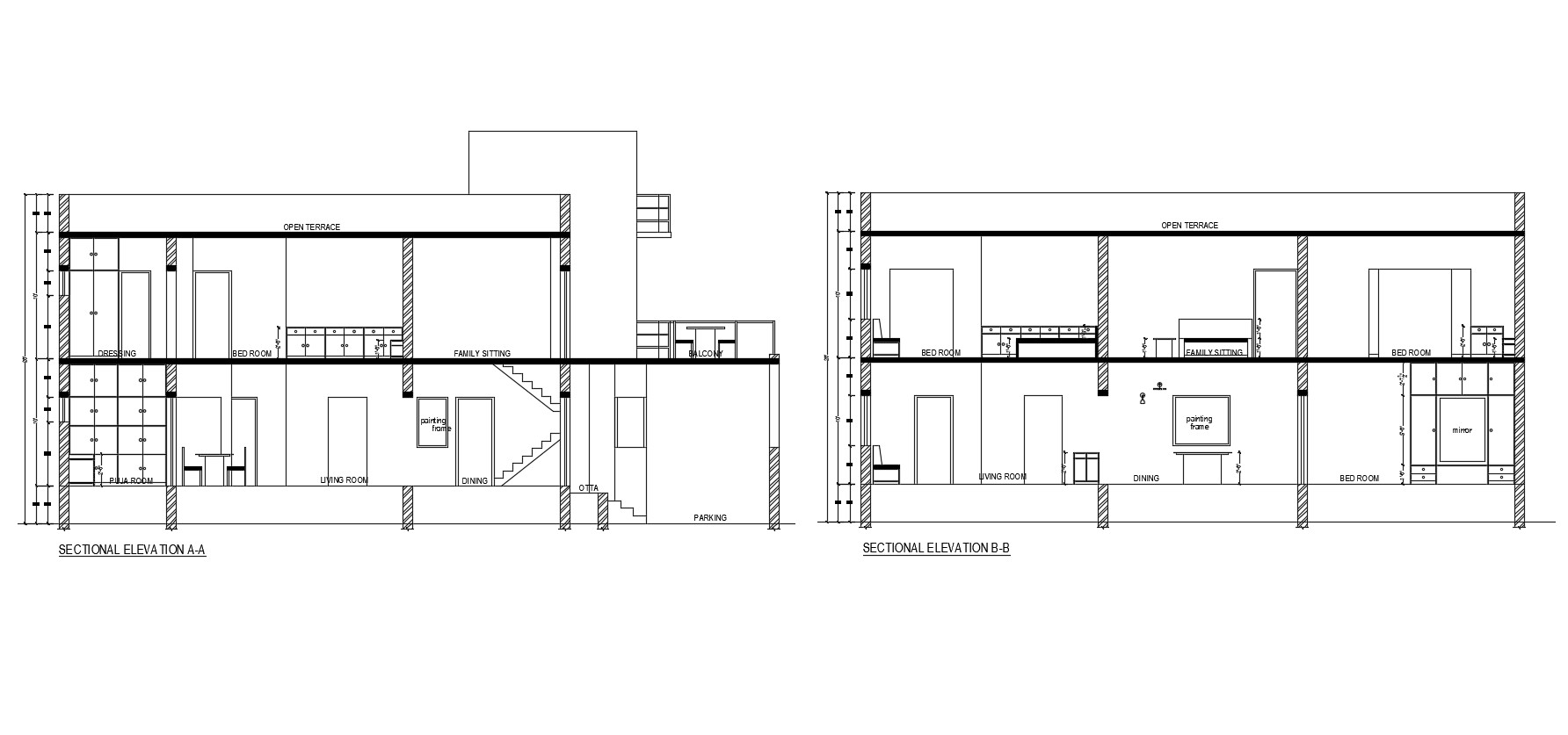 Sectional Elevation Drawing Of 2 Storey House In Dwg File
